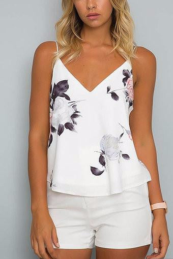 a466d32f0e40fc White Floral Print Double V-Neck Cami Top – Crystalline