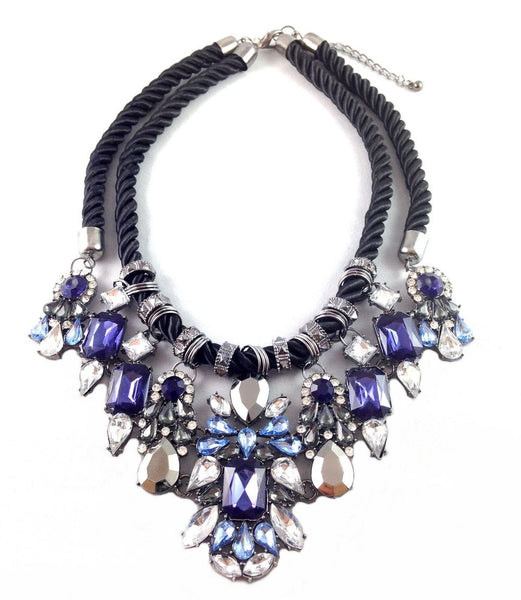 Navy Mix of Rope & Pearls Statement Necklace - Crystalline