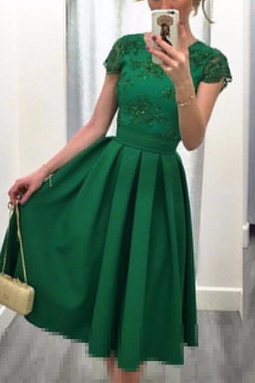 Green Short Sleeve Lace Detail V-Cut Back Pleated Midi Dress