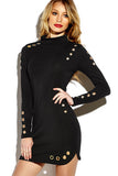 Black Eyelet Details Long Sleeve Bodycon Dress