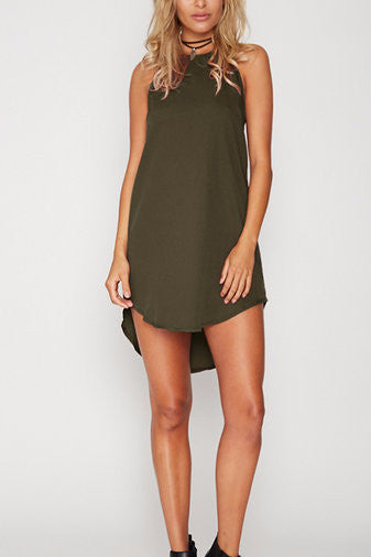 Green Sleeveless Racer Back High Low Dress