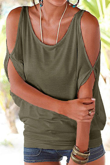 Army Green Cold Shoulder Scoop Neck Tie Back Top