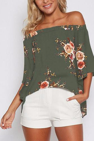 Army Green Off Shoulder Bell Sleeve Floral Print High Low Split Back Top
