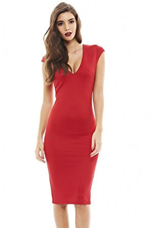 Red Deep V-Neck Zip Back Bodycon Dress