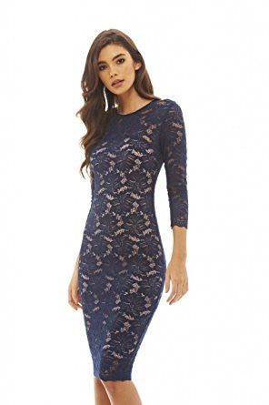 Navy Nude Round Neck 3/4 Sleeve Lace Bodycon Midi Dress