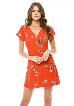 Red Floral Print Wrap Flare Sleeve Dress