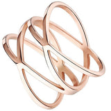 "Jewelry Womens 14MM Rose Gold Plated Double ""X"" Criss Cross Long Hollow Ring Wedding Lady Gril Band - Crystalline"