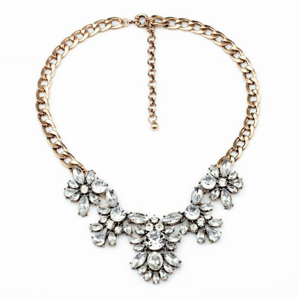 Gold metal and Intricate crystal Statement Necklace - Crystalline