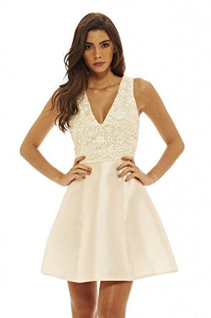 Champagne V-Neck Lace Top Mini Skater Dress