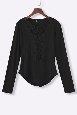 Black Hollow Out Long Sleeve Curved Hem Shirt