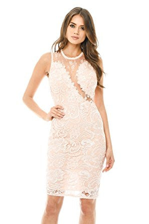 Pink Sleeveless Lace Mesh Bodycon Midi Dress