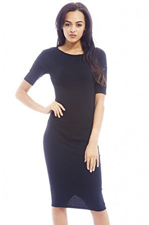 Black Plain 3/4 Sleeve Fitted Midi Dress