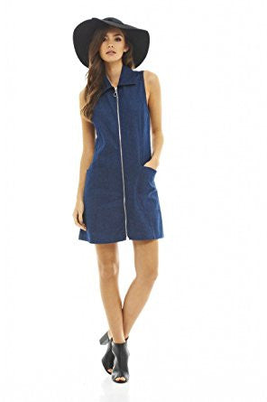 Blue Denim Zip Front Sleeveless Mini Dress