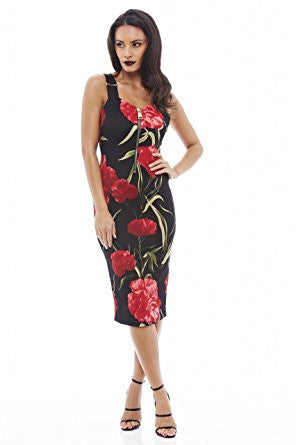 Black Chunky Zip Front Floral Print Elastic Straps Bodycon Dress