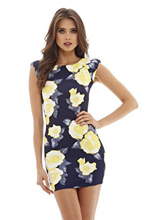 Navy Yellow Flower Capped Sleeve Scoop Back Mini Dress