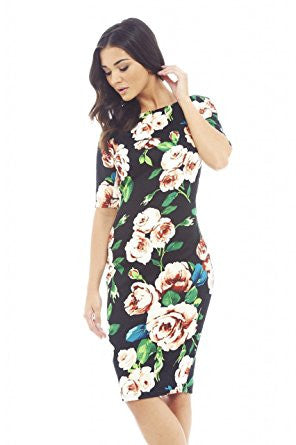 Black 3/4 Sleeve Peach Floral Print Bodycon Midi Dress