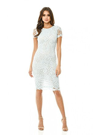 Blue Round Neck Short Sleeve Lace Bodycon Midi Dress