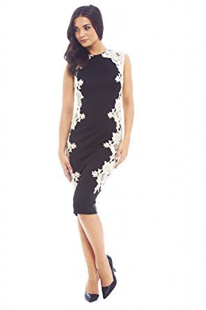 Black Sleeveless Crochet Side White Lace Midi Dress
