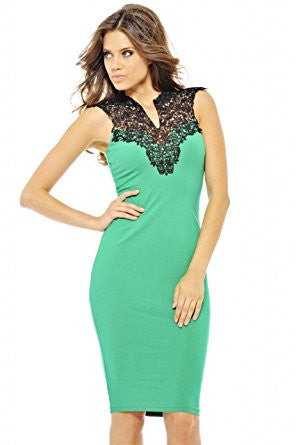 Green Crochet V-Neck Bodycon Midi Dress