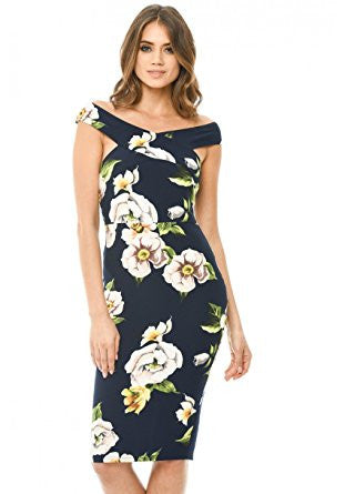 Navy Floral Print Off Shoulder Cross Midi Dress