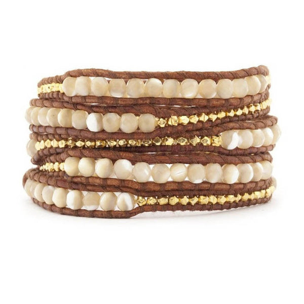 Leather Wrap Bracelet Graduated Pearlescent Goldtone Beads 34 inches 5 Wraps - Crystalline