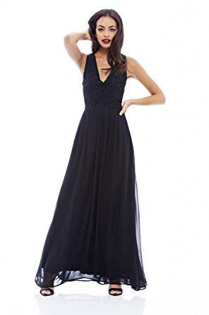 Black Sleeveless Floral Lace V-Neck Pleated Maxi Dress