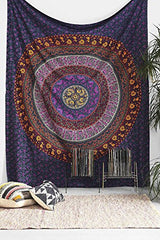 Indian Wall Hanging Hippie Mandala Tapestry Bohemian Bedspread Ethnic Dorm Decor - Crystalline