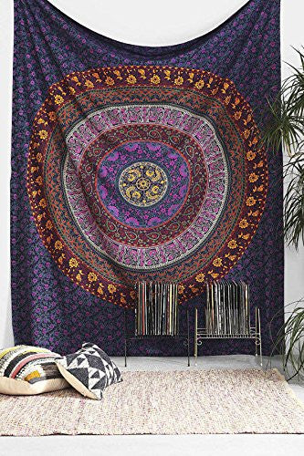 Tapestry, Hippy Mandala Bohemian Tapestries, Indian Dorm Decor, Psychedelic Tapestry Wall Hanging Ethnic Decorative - Crystalline