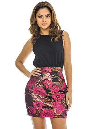 Black and Pink Sleeveless 2 in 1 Floral Skirt Mini Dress
