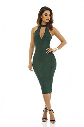 Green V-Neck Cutout Racer Back Bodycon Dress