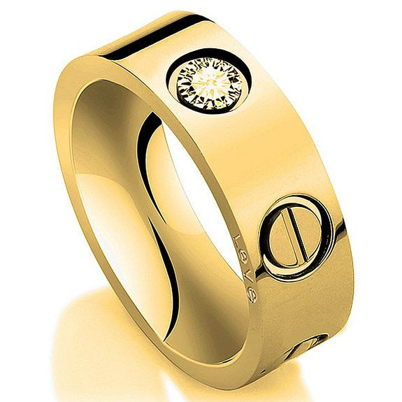 Gold plated Stainless Steel Screw Head fashion Ring - Crystalline