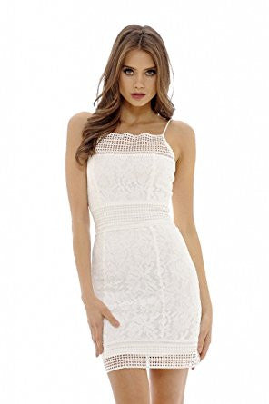 Cream Sexy Strap Hollow Out Lace Design Mini Dress