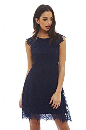 Navy Capped Sleeve Crocheted Lace Midi Dress