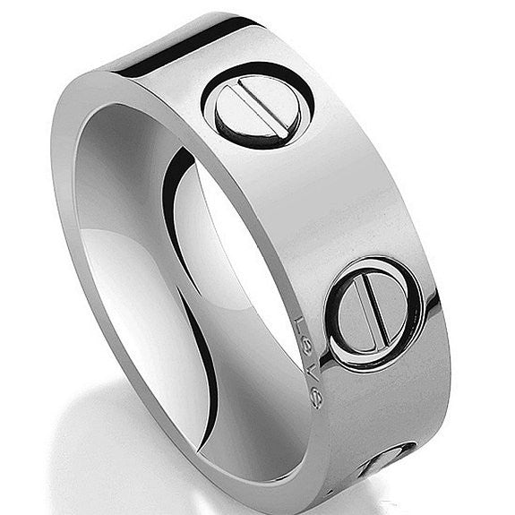 White Ring Stainless Steel Ring Couples Wedding Engagement Promise - Crystalline