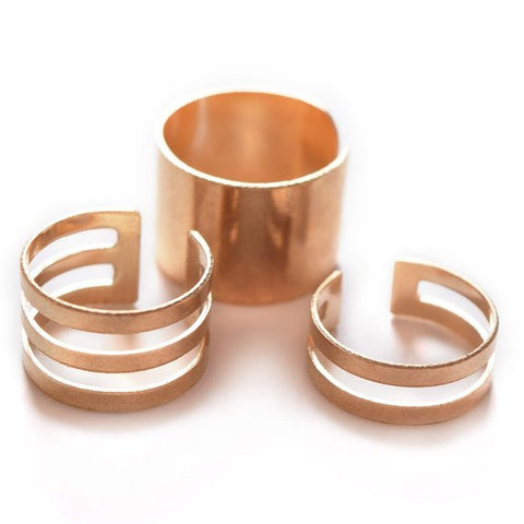 Adjustable 3 piece ring set perfect Minimalistic design and unique structure - Crystalline