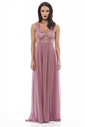Mauve Sleeveless Floral Lace V-Neck Pleated Maxi Dress