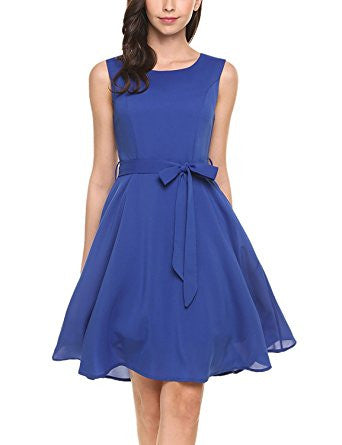 Blue Sleeveless Self-Tie Chiffon Pleated Dress