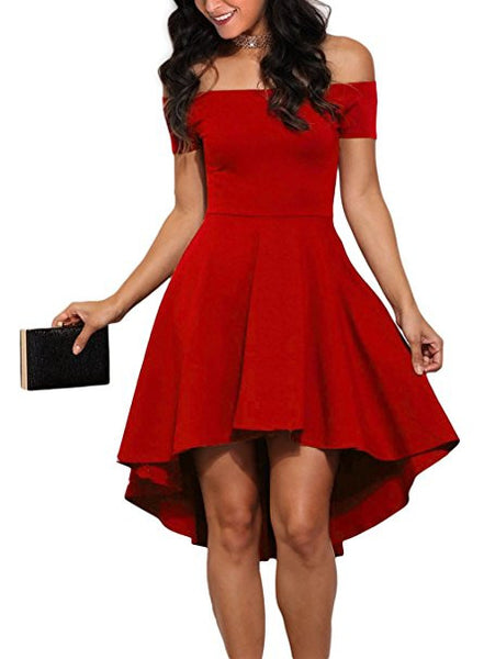 Red Short Sleeve Off The Shoulder Dress