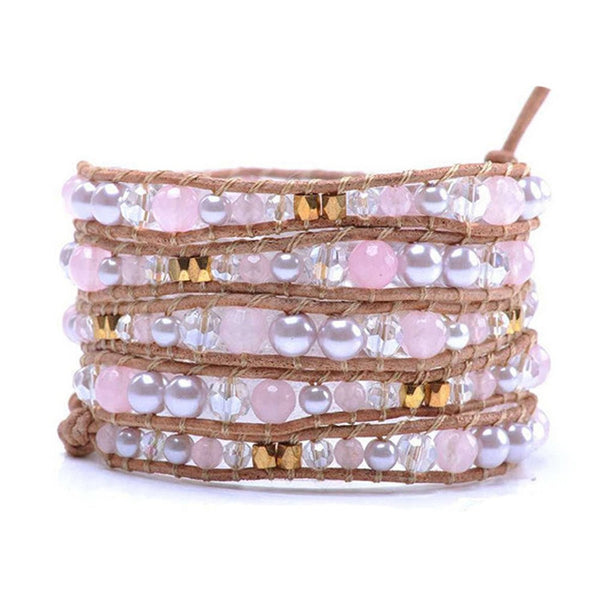 Leather Long Wrap Bracelet Graduated Pink Pearlescent Crystal and Goldtone Beads 34 inches 5 Wraps - Crystalline