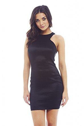 Black Satin Sleeveless Racer Back Bodycon Dress