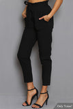 Black Elastic Belt Waist Pants