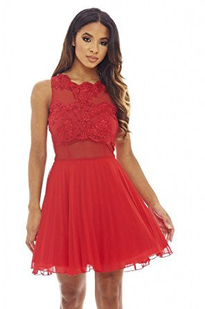 Red Round Neck Crochet Lace Sleeveless Skater Pleated Dress
