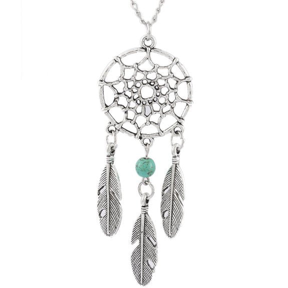 Women's Dangling Feather Turquoise Charms Filigree Tribal Dreamcatcher Pendant Chain Necklace - Crystalline