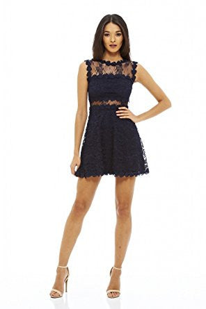 Navy Round Neck Lace Crochet Back Hole Skater Dress