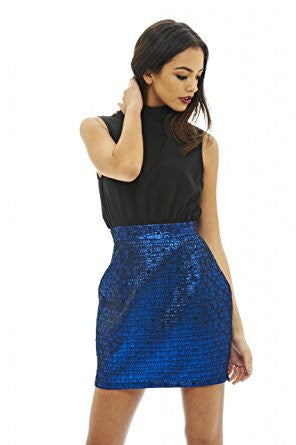 Black and Blue Sleeveless 2 in 1 Metallic Skirt Mini Dress