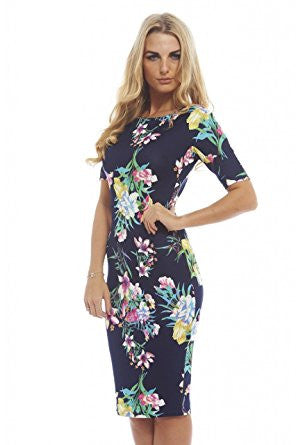 Navy 3/4 Sleeve Colored Floral Print Bodycon Midi Dress