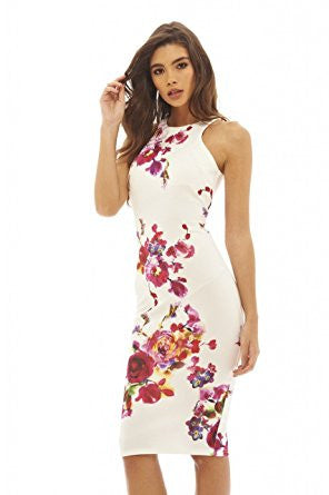 Cream Pink Flower Print Sleeveless Racer Back Bodycon Midi Dress