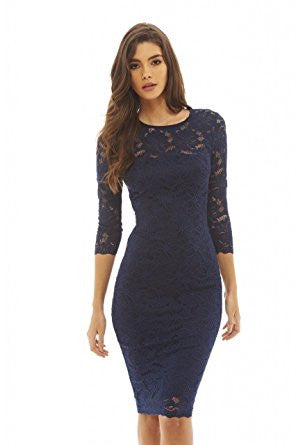 Navy Round Neck 3/4 Sleeve Lace Bodycon Midi Dress