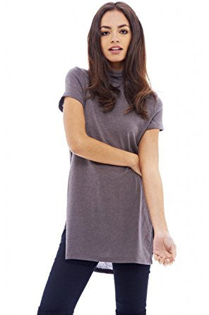 Grey High Neck Side Slit Knitted Top
