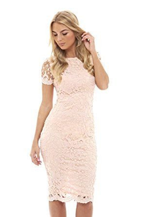 Pink Round Neck Short Sleeve Lace Bodycon Midi Dress